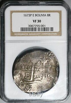 1673 NGC VF 30 Bolivia Cob 8 Reales Spain Pirate Silver 3 Dates Coin (20071102R)