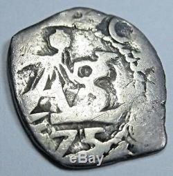1675 Spanish Silver 1/2 Reales Piece of 8 Real Colonial Cob Pirate Treasure Coin
