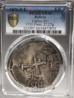 1676 P E 8 Reales Cob Bolivia PCGS VF30! 34877870