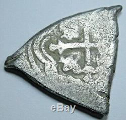 1677-1701 Spanish Mexico Silver 1 Reales L Assayer One Real Old Antique Cob Coin