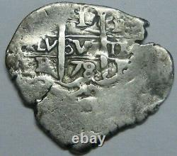 1678 Potosi 1 Real Cob Charles II Assayer E Spanish Silver Colonial Era Bolivia