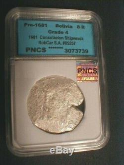 1681 Consolacion Shipwreck / Bolivia Cob Silver 8 Reales with RobCar COA & Flip