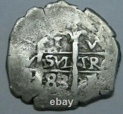 1683 Potosi 1 Real Cob Charles II Assayer V Spanish Colonial Bolivia Silver