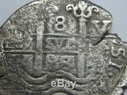1683 Potosi 8 Real Cob Charles II Bolivia Assayer V Spanish Colonial Very Scarce