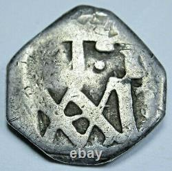 1686-1699 Maria Type Spanish Silver 1 Reales Antique 1600's Pirate Cob Coin