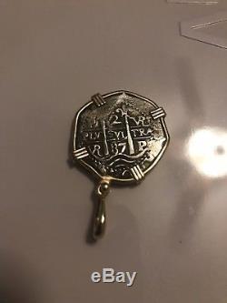 1687 POTOSI 2 REALES COB CHARLES II ASSAYER VR BOLIVIA 14k Gold Pendant