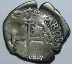 1687 Potosi 2 Real Cob Charles II Assayer Vr Bolivia Spanish Colonial Silver