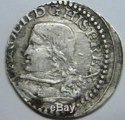 1693 Real Croat Charles II Cob Barcelona Scarce Spanish Colonial Silver