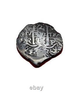 1696  2 Reales Cob Bolivia Potosi Silver Spanish Colonial Coin 6g 26/25mm