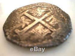 1698 Lh Peru 8 Reales Shipwreck Colonial Doubloon Rare Cob Silver Coin