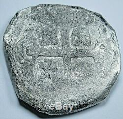 1700's Shipwreck Spanish Silver 4 Reales Piece of 8 Real Antique Pirate Cob Coin