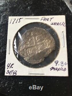 1700s Mexico 4 Real Silver Cob. 1715 Fleet 9.8 Gr