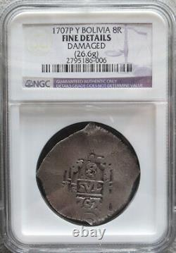 1707 P Y Silver Bolivia 8 Reales Cob Philip V Coinage Ngc Fine