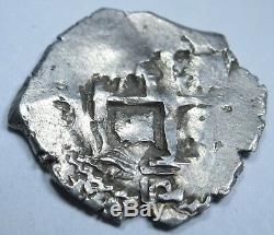 1711 Spanish Silver 2 Reales Piece of 8 Real Cob Colonial Two Bits Pirate Coin
