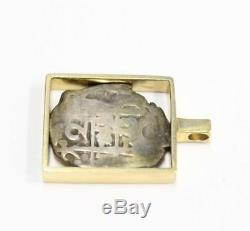1713 Spain 2 reales colonial silver cob Two Bits 18K gold pendant 11.5 grams