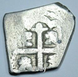 1715-1733 Spanish Silver 1 Reales Cob Genuine Antique 1700s Colonial Pirate Coin