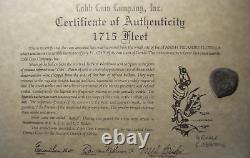 1715 Fleet Mexico Silver Cob 4 Reale Shipwreck Coin, Mel Fisher Cobb Co. COA #340
