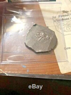 1715 Fleet Shipwreck Mexico 4 Reale Silver Cob Dated withCoA