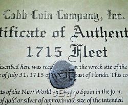 1715 Fleet Shipwreck Mexico Silver 1/2 Reales 1600s Cob Coin With Mel Fisher COA
