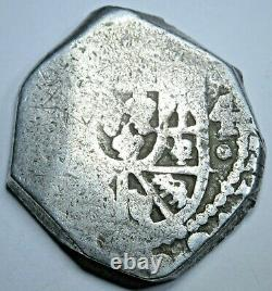 1716-1719 OMJ Mexico Silver 4 Reales Old Spanish Colonial 1700's Pirate Cob Coin