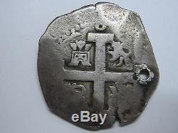 1718 Lima 8 Real Cob Philip V Peru Spain Spanish Colonial Silver