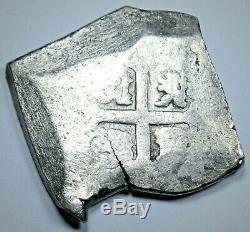 1724-29 Shipwreck Spanish Mexico Silver 8 Reales Antique 1700s Pirate Cob Coin