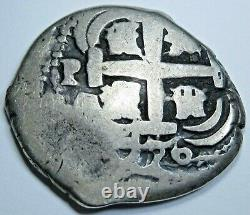 1726 Luis I Bolivia Silver 2 Reales Antique 1700's Old Spanish Colonial Cob Coin