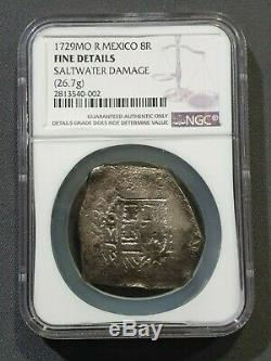 1729 MEXICO Cob 8 Reales Philip V -Treasure Silver Coin NGC Fine