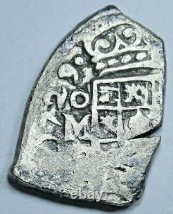 1729 Mexico Silver 1 Reales Antique Full Date Shipwreck 1700's Pirate Cob Coin