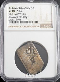 1730, Mexico, Philip V. Silver 4 Reales Cob Coin. Rooswijk Shipwreck! NGC VF+