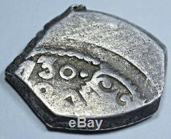 1730 Spanish Mexico Silver 1 Reales Antique Colonial Pirate Treasure Cob Coin