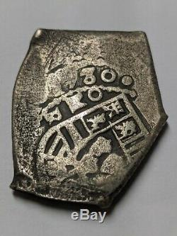 1730 Spanish colonial MEXICO Mo R Cob 8 Reales 26.27g Silver Coin