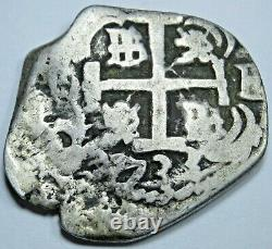 1733 Spanish Silver 2 Reales Antique Colonial 1700's Pirate Treasure Cob Coin