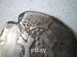 1738 Peru Guatemala C/m Skull Crown Colonial 8 Reales Dollar Cob Silver Coin