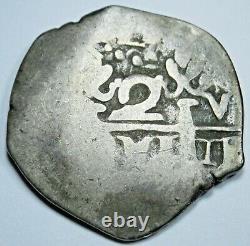 1739-1746 Spanish Peru Silver 1 Reales Genuine Old Antique 1700s Pirate Cob Coin