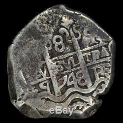 1748-P Q Bolivia Silver Cob 8 Reales Silver Coin NGC VF25 (. 8100 ASW) -Rare! -
