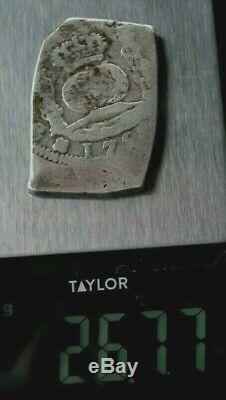 1750 Rare Guatemala 8 Reales Cob Silver Spanish Colonial Very Fine 26.77 Gm