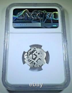 1755 Spanish Bolivia Silver 2 Reales NGC Antique 1700's Colonial Pirate Cob Coin