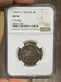 1761 Bolivia 4 Reale Cob Potosi Mint NGC AU50 TOP POPULATION Charles III