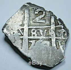 1764 Spanish Silver 2 Reales Piece of 8 Real Pirate Cob Two Bits Treasure Coin