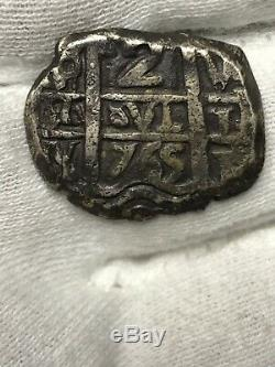 1765 Silver Spanish Pirate Cob Bolivia 2 RealesAMAZING PIECE Date In Both Sides