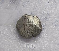 1768 P Spain, Colonial Bolivia Potosi 8 Reales Silver Cob Coin Date Carlos III