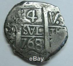 1768 Potosi 4 Real Cob Charles III Spanish Silver Colonial Era Bolivia Cob