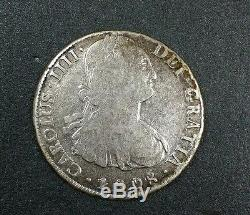 1808 PJ Bolivia 8 Reale Milled Bust Charles IIII Colony Cob Silver Potosi Coin