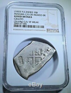 1820 N. E. Indies Madura 1 Real Batu 1700's 8 Mexico Cob Sumenep Countermark Coin