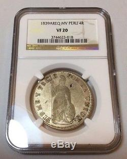 1839 Peru South 4 reales AREQ NGC Arequippa Lima Cuzco silver cob republican