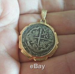 18k Mounted Genuine 1 Reales Silver Spanish Treasure Cob Coin Jewelry Pendant