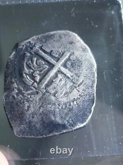 4 Reales Silver Cob, 1672 Potosi E, 15.6g Charles II