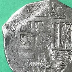 8 REALES LARGE SILVER SPANISH COB COIN, Philip IV Seville Mint, Spain