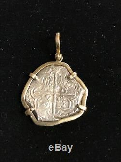 8 Reales Cob Philip IV Silver Coin in 14k Gold Pendant Bezel 6 Gram Bezel